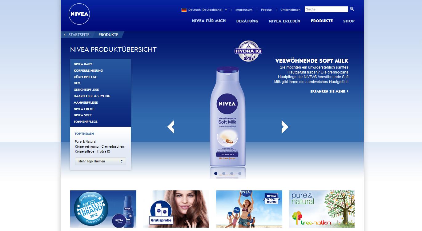 Website Nivea.de mit dem neuen Produktdesign
